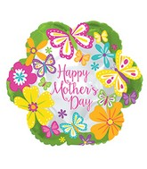 "18"" Happy Mother&#39s Day Butterflies Lime Border Balloon"
