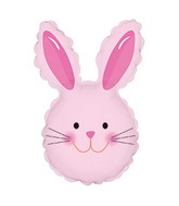 "12"" Airfill Only Happy Bunny Head Pink Balloon"