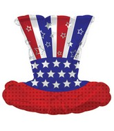 "10"" x 12"" Aifill Only Patriotic Top Hat Mini-Shape Balloon"
