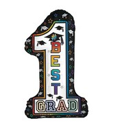 "17"" x 29"" #1 Best Grad Shape-A-Loon Balloon"
