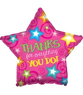 "18"" Thanks Pink Star Balloon"