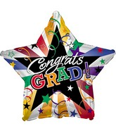 "9"" Airfill Congrats Grad Stars And Streamers"