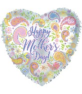 "17"" Happy Mother&#39s Day Paisley Heart Balloon"