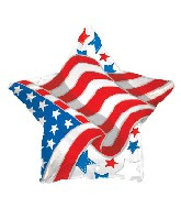 "17"" Patriotic Waving Flag Star Balloon"