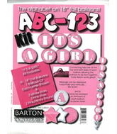 "18"" ABC-123 Kit ""It&#39s a Girl"" Pink/White (24 Balloons)"