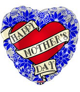 "18"" Happy Mother&#39s Day Tattoo Blue Heart"