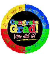 "18"" Congrats Grad Split Color Border"