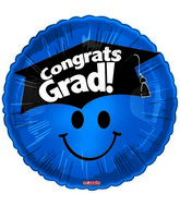 "18"" Smiley Face Grad & Hat Blue"