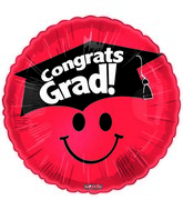"18"" Smiley Face Grad & Hat Red"