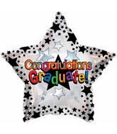 "18"" Congratulations Graduate! Black Stars Balloon"