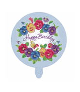 "18"" Happy Birthday Flowers White"