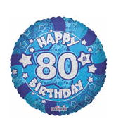 "18"" Holographic Blue Happy 80Th Birthday"