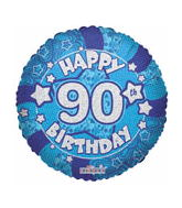 "18"" Holographic Blue Happy 90th Birthday"