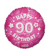 "18"" Holographic Pink Happy 90Th Birthday"