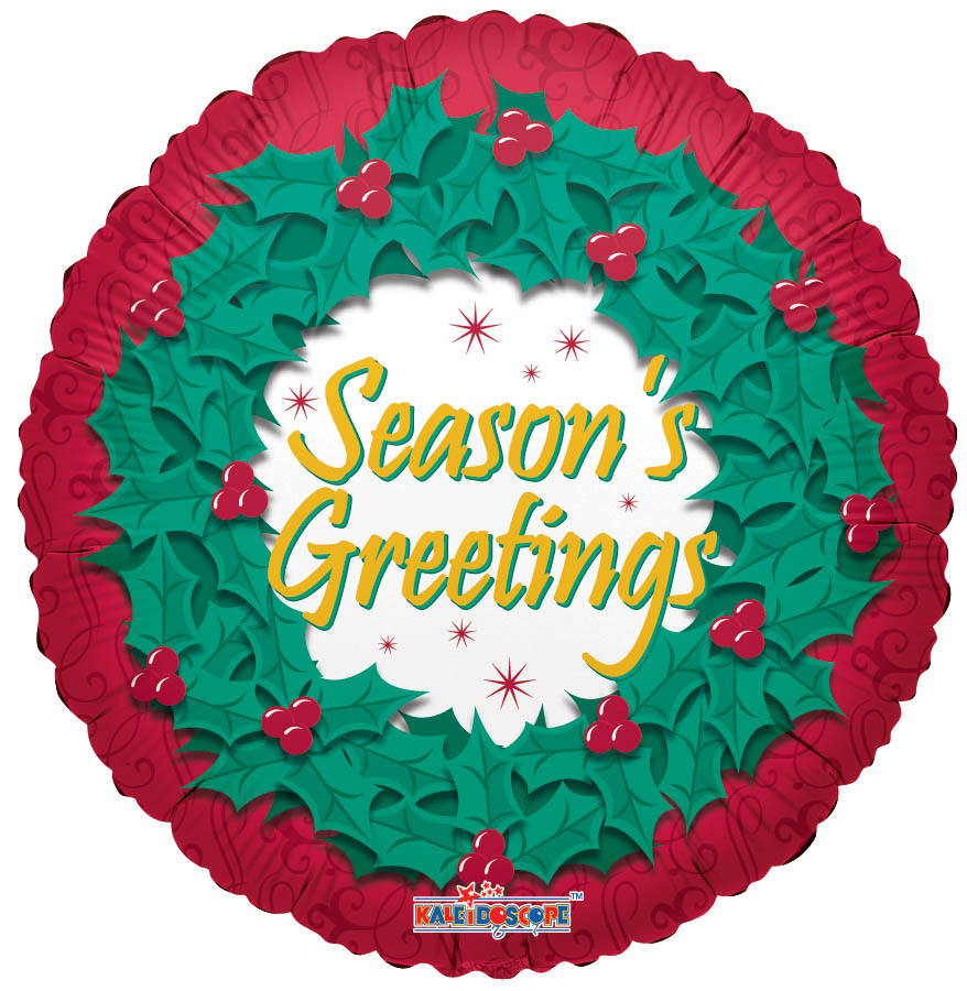 "18"" Season&#39s Greetings Wreath Balloon"