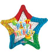 "9"" Airfill Only Happy Birthday Patterned Star Balloon"