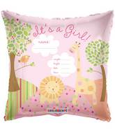 "18"" It's A Girl Jungle Balloon Personalize writable"