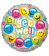 "18"" Get Well Colorful Smiles Balloon"