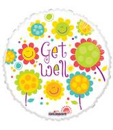 "18"" Get Well Smiling Flowers Gellibean Balloon"