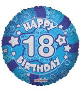 "18"" Holographic Blue Happy 18th Birthday Balloon"