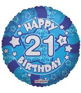 "18"" Holographic Blue Happy 21st  Birthday Balloon"