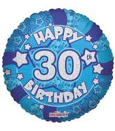 "18"" Holographic Blue Happy 30th Birthday Balloon"