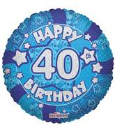 "18"" Holographic Blue Happy 40th Birthday Balloon"