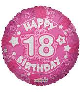 "18"" Holographic Pink Happy 18th Birthday Balloon"
