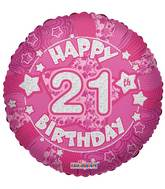 "18"" Holographic Pink Happy 21st  Birthday Balloon"