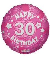 "18"" Holographic Pink Happy 30th Birthday Balloon"