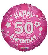 "18"" Holographic Pink Happy 50th Birthday Balloon"