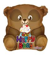 "18"" Cute Bear With Cupcake Shape Balloon"