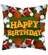 "9"" Airfill Only Birthday Sports Green Balloon"