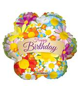 "4"" Airfill Only Happy Birthday Flowers With Banner Balloon"