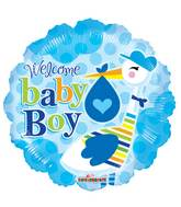 "9"" Airfill Only Baby Boy Stork Balloon"
