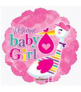 "9"" Airfill Only Baby Girl Stork Balloon"