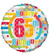 "18"" Happy 65th Birthday Dots & Lines balloons"