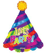 "28"" Let'S Party! Party Hat Shape balloons"