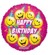 "18"" Happy Birthday Smilies With Party Hats Balloon"