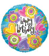 "18"" Birthday Watercolor Flowers Balloon"