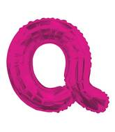 "14"" Airfill with Valve Only Letter Q Hot Pink Balloon"