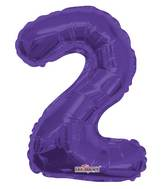 "14"" Airfill with Valve Only Number 2 Purple Balloon"