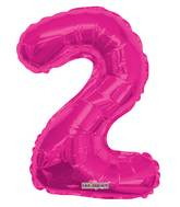 "14"" Airfill with Valve Only Number 2 Magenta Balloon"