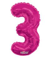 "14"" Airfill with Valve Only Number 3 Magenta Balloon"
