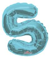 "14"" Airfill with Valve Only Number 5 Light Blue Balloon"