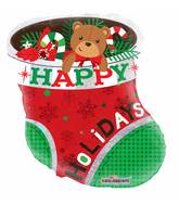 "18"" Holidays Sock Holographic Shape Balloon"