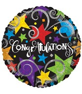 "9"" Airfill Only Congratulations Black Balloon"