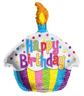 "12"" Airfill Only Birthday Bright Cupcake Shape Balloon"