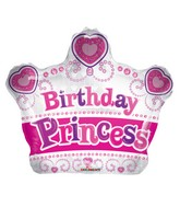 "12"" Airfill Only Birthday Princess Crown Shape Balloon"