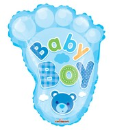 "14"" Airfill Only Baby Boy Foot Shape Gellibean Balloon"